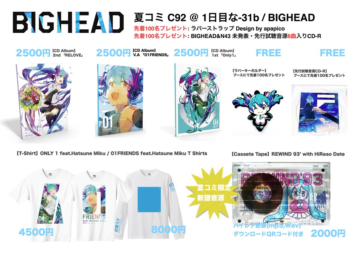 BIGHEAD Merchandise to be sold at ComiKet 92